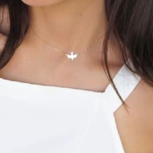 Dainty Minimalist Side Dove Delicate Bird Necklace